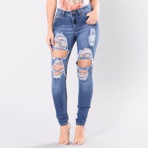 Fashion nova distressed high waisted jeans